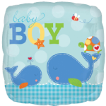 "18"" Whales Ahoy Baby Boy Square Foil Balloon"